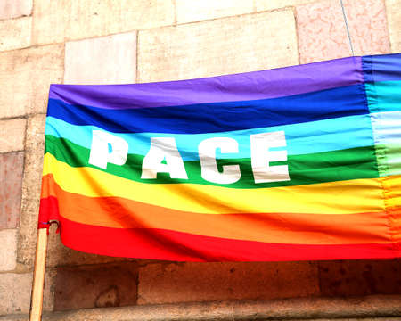 pace: rainbow Peace flag with big written PACE in italy 1 Stock Photo