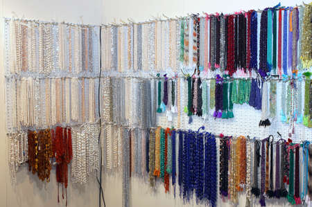 costume jewellery: many fine necklace of miscellaneous for sale in the shop of jewellery and costume jewellery