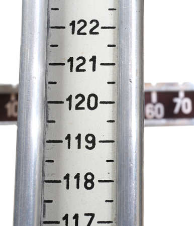 numbering: retro scales in the doctors clinic to measure the weight and height of children