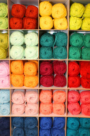 soft sell: balls of very soft wool for sale in the wholesalers store