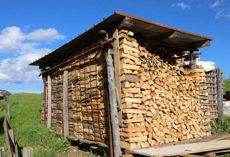 woodpile: logs and timbers of a woodpile in the Woodshed Stock Photo