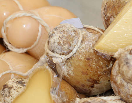 caciocavallo: matured yellow caciocavallo cheese typical of southern Italy in the dairy