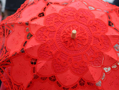 doilies: red umbrella all hand-decorated with lace doilies
