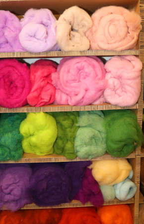 soft sell: fine soft wool for sale in balls in the wholesalers shop