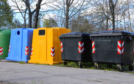 waster: bins for waste paper collection and for the collection of used plastic and glass bottles
