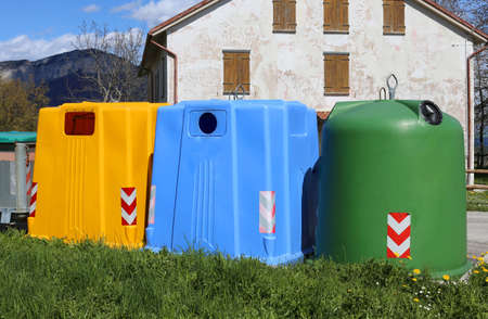 waster: many bins for waste paper collection and for the collection of used plastic and glass bottles