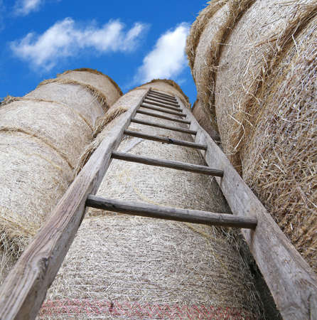haymow: wood ladder in the barn with bales of hay and blue sky Stock Photo