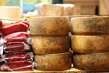 ailment: cold cuts and cheese typical Italian products for sale in the local market to a small town in Italy Stock Photo