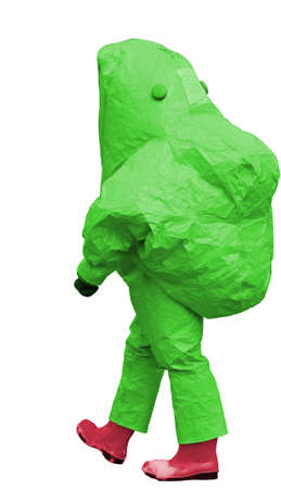 nuclear waste disposal: man with green protective gear against biological risk on white background