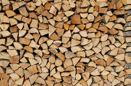 woodshed: logs and timbers of a woodpile in the Woodshed Stock Photo