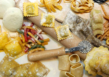 raviolo: fresh homemade pasta in Italy with egg and flour Stock Photo