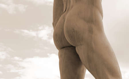 anthropomorphous: detail of the back of the marble statue with muscular legs and buttocks white Stock Photo