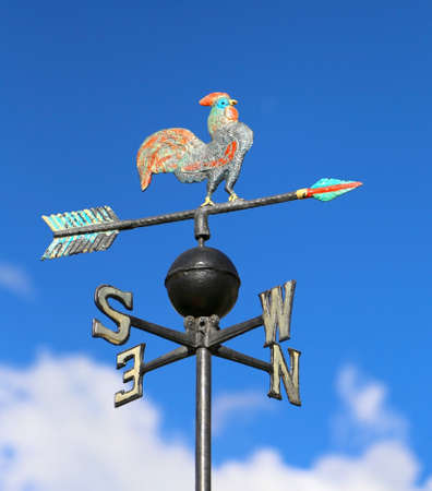 north arrow: ancient weathervane with cock above an arrow and the four cardinal points North East West South