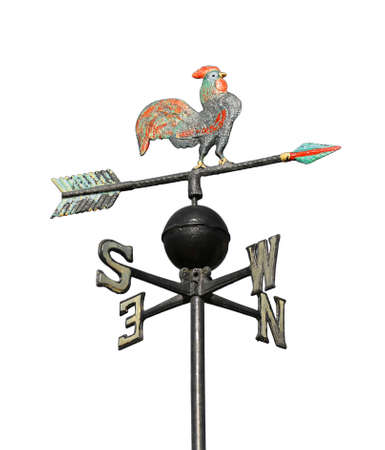 ancient weathervane with cock above an arrow and the four cardinal points North East West South