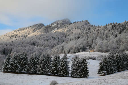 winterly: nice mountain landscape in winter with snow on the trees and huts