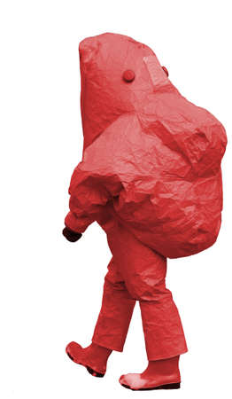 nuclear waste disposal: man with red protective gear against biological risk  on white background