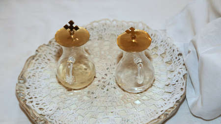 ecclesiastical: glass Cruets for the blessing of the wine during a religious rite Christian