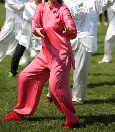 magenta dress: martial art Woman with pink silk dress perfectly perform the exercises in the large public park