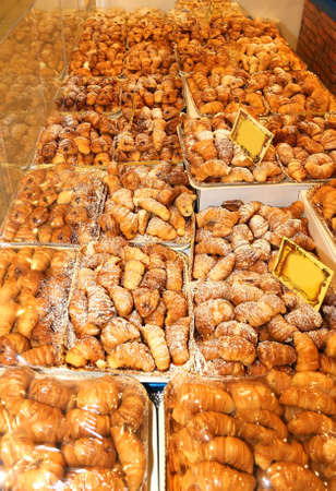 cannoli pastry: huge stand of very good Italian pastries and croissants for sale