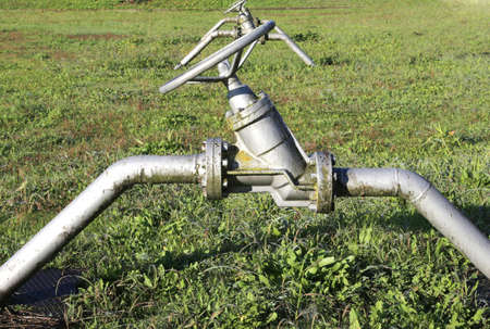 gas distribution: many gate valves to close or open the natural gas flow from the storage area to the natural gas distribution network of pipeline multiutility international company Stock Photo