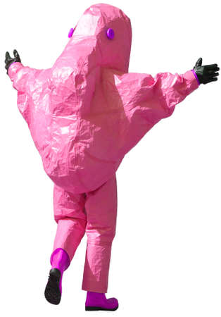 protective suit: person with magenta protective suit to manage hazardous materials