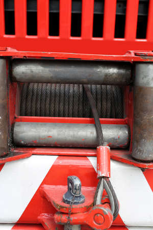hoist: robust hoist with steel wire installed on a big fire truck