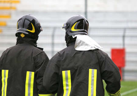 fire brigade: two helmeted fire brigade anti riot for the security service