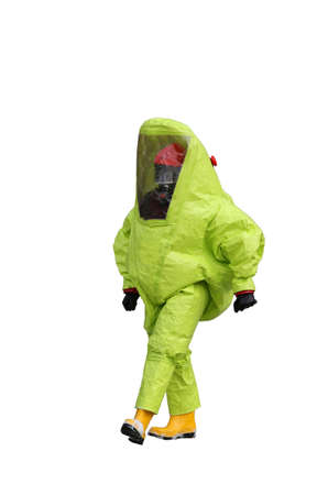 chemical warfare: man with yellow protective gear  on white background Stock Photo