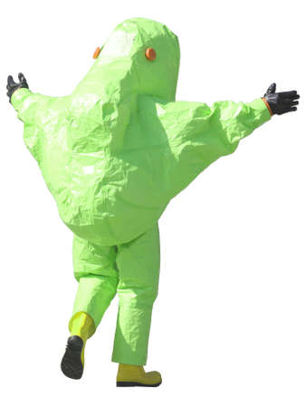 contagious: person with green protective suit to manage hazardous materials