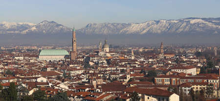 Vicenza, Italy, Panorama of the city with the famous Basilica Palladiana and the dome of Saint Stephan Church Editorial