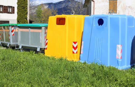 repurpose: bins for waste paper collection and for the collection of used plastic and glass bottles and containers for non-recyclable waste