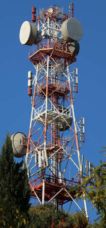 repeater: big repeater of television signals and mobile phones in the woods Stock Photo