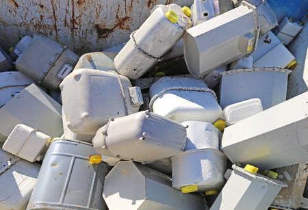 methane: old gas meters in the industrial landfill methane