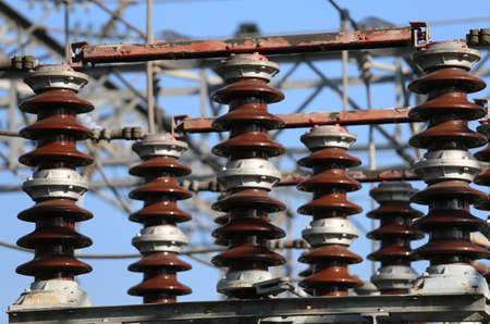 switches: detail view of big electric switches in an electrical substation hydroelectric power plant
