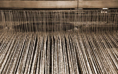 textile industry: wooden loom in the textile industry for the production of woolen blankets