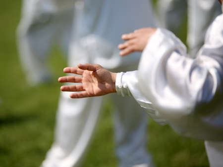 taiji: hand of martial arts master Tai Chi during the exhibition in public park Stock Photo