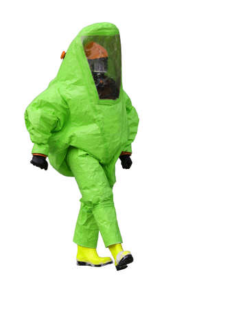 hazmat: man with green protective gear on white background