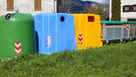 repurpose: bins for waste paper collection and for the collection of used plastic and glass bottle