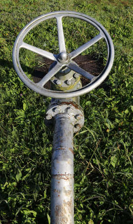 shutting: large valve for shutting off the pipe with swivel maneuver to a circular shape for the plant management multiutilities company