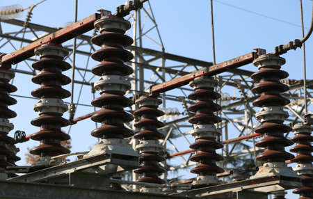 hydro electric: large disconnectors in the air in a system of hydro electric power substation