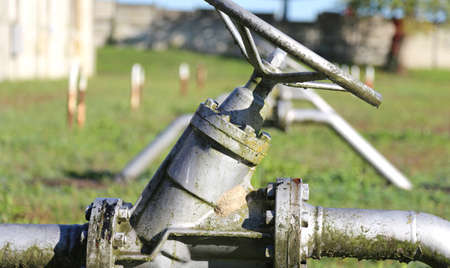 gas distribution: iron gate valve to close or open the natural gas flow from the warehouse to the natural gas distribution network of multiutility company