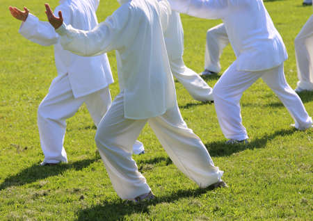 chi kung: People fans of martial arts with shiny white silk dress during the concentration exercises and relaxation in the large park Stock Photo