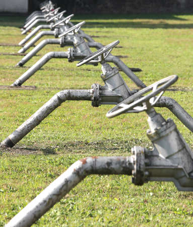 gas distribution: iron gate valves to close or open the natural gas flow from the storage area to the natural gas distribution network of multiutility international company