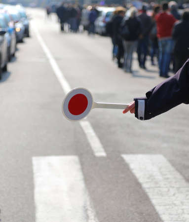 forfeiture: road block policeman during a traffic control in the city Stock Photo