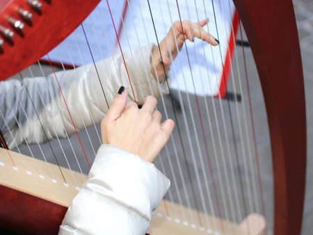 musical instrument parts: hands of a young woman playing gently the harp