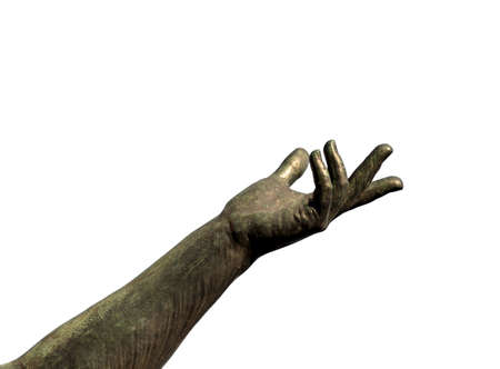 statue with arm and hand extended upward on a white background