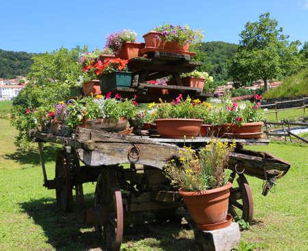 carreta madera: muy antiguo vag�n de madera decoradas con muchas macetas de flores en el prado en las monta�as