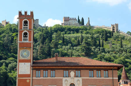mediaeval: Ancient tower in the main square in Marostica Town in Italy