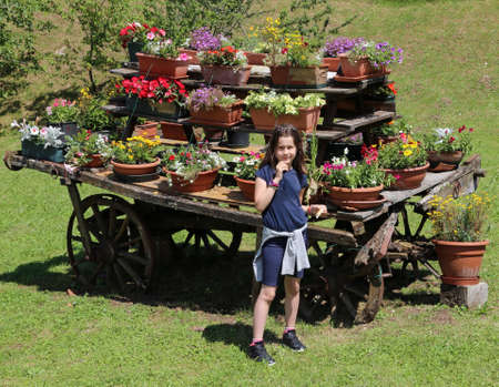 festooned: cute little girl and an old wooden wagon with many pots of flowers in the meadow in the mountains