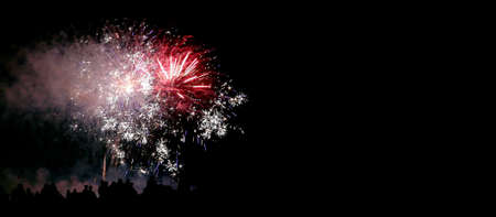 show with large colorful fireworks in the dark sky